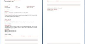 Teacher's Syllabus Plan Template