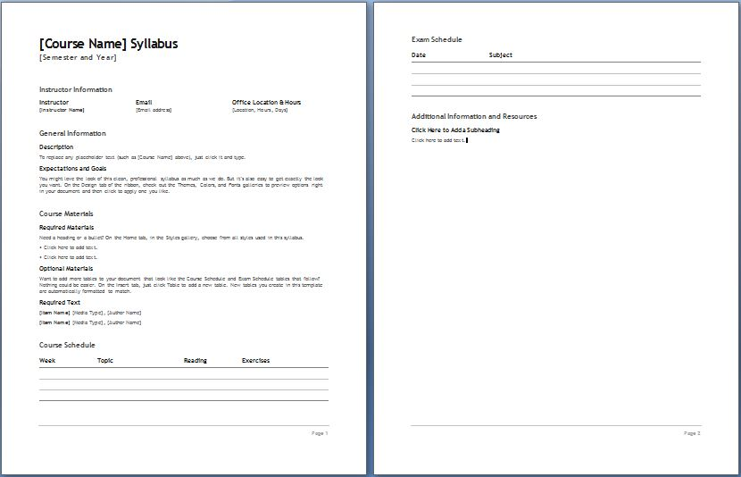 Teacher'S Syllabus Plan Template | Formal Word Templates