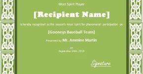 Team Spirit Player Award Certificate Template