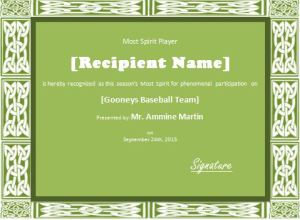 Team Spirit Player Award Certificate Template