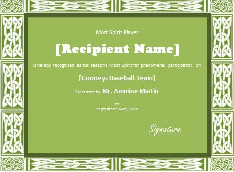 Team Spirit Player Award Certificate Template | Formal Word Templates