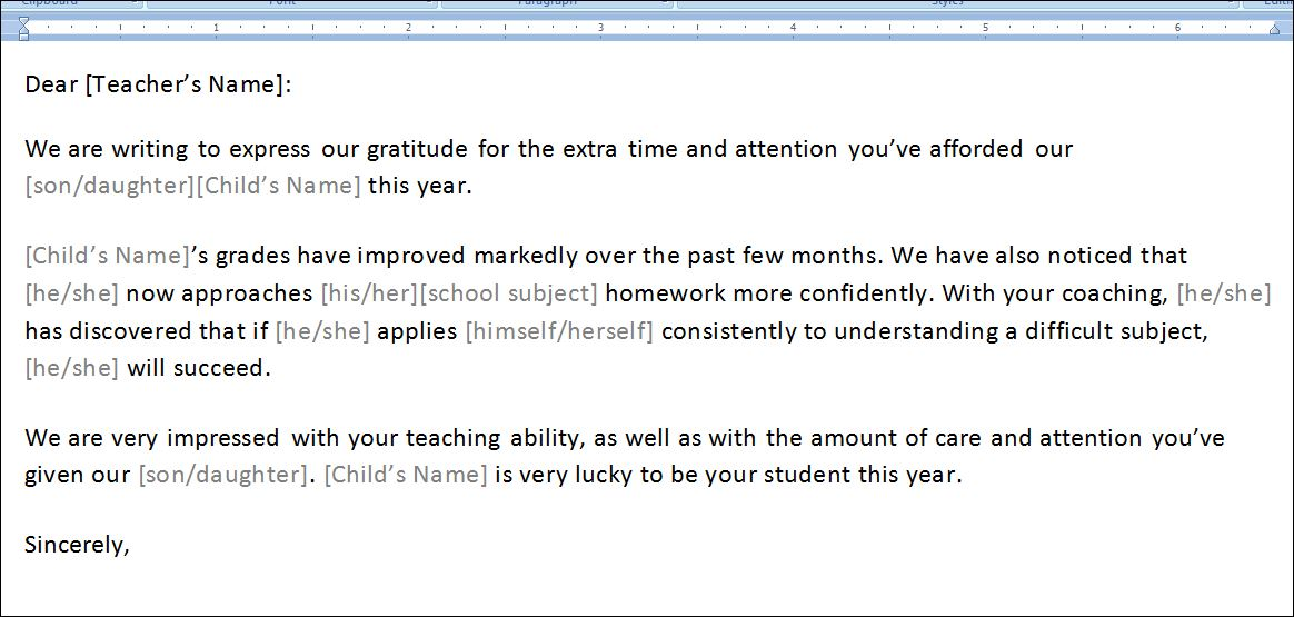 Sample Thank You Letter To Teacher Template | Formal Word Templates