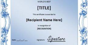 World's Best Award Certificate Template