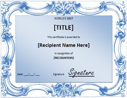 Worlds Best Award Certificate Template – Word Template for Certificate