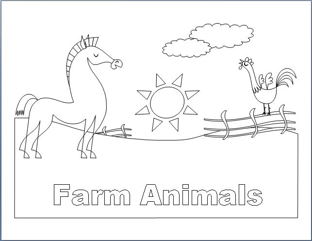 a4 size coloring pages of farm animals - photo #34