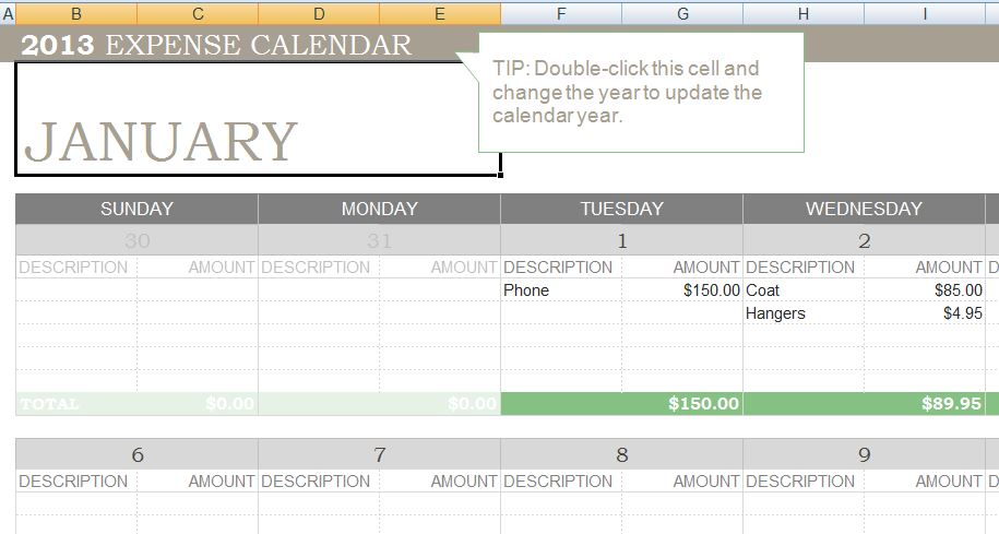 Any Year Expense Calendar Template – Expense Template