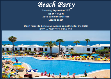 beach party invitation card