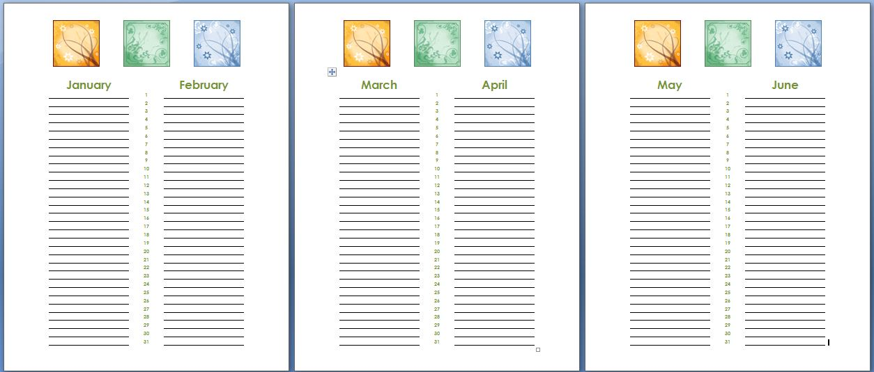 Birthday And Anniversary Calendar Template  Formal Word Templates