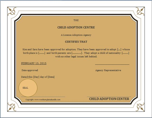 MS Word Adoption Birth Certificate Template – Word Template Certificate