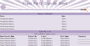 Class Party Sign-Up Sheet Template