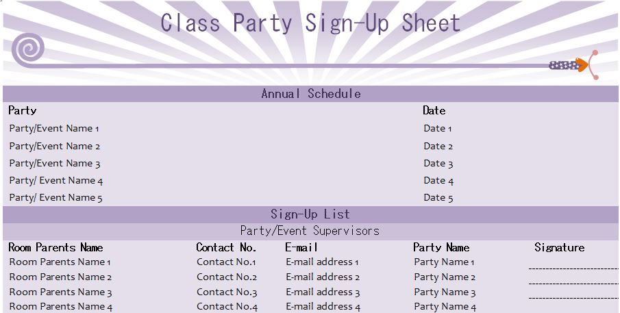 Class Party Sign-Up Sheet Template | Formal Word Templates