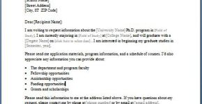 College Study Program Information Requesting Letter
