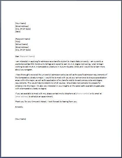 formal letter for transfer request