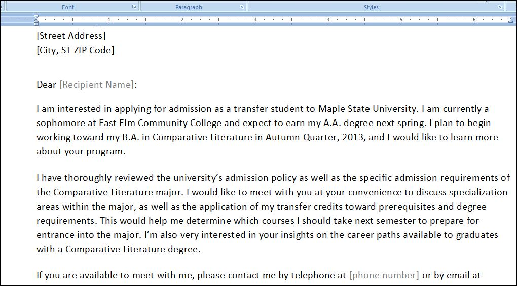 Sample College Transfer Meeting Requesting Letter To