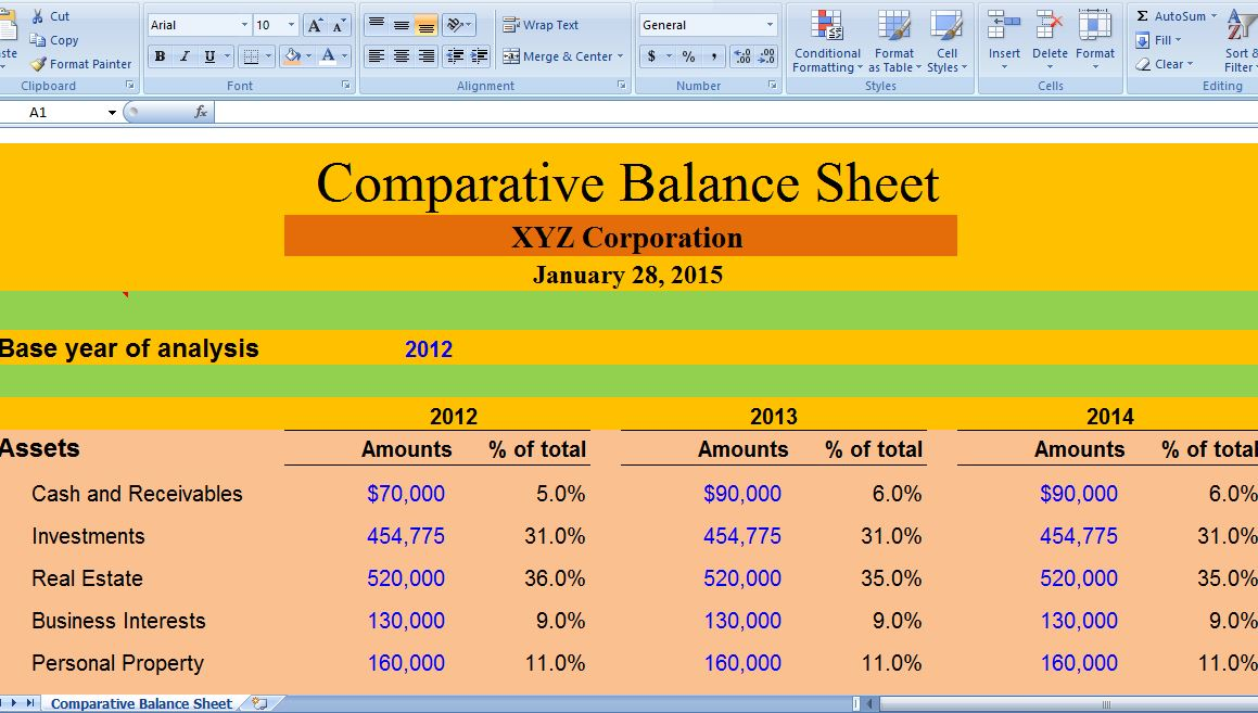 MS Excel Comparative Balance Sheet