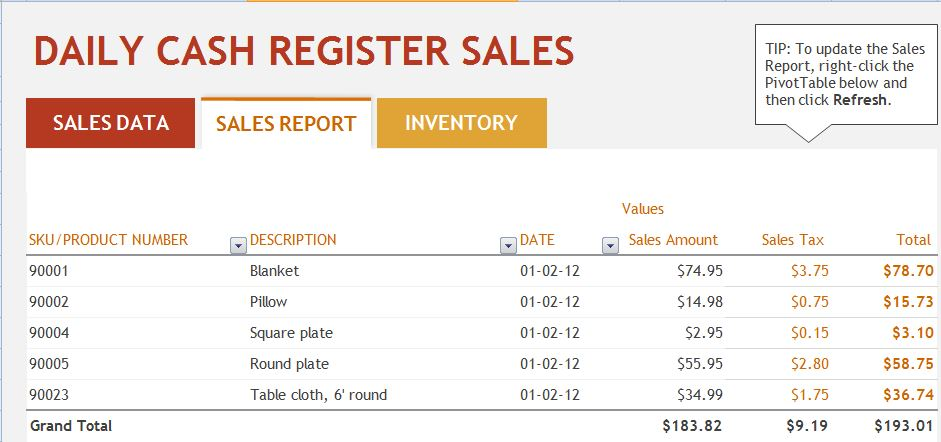 Ms Excel Daily Sales Report Template | Formal Word Templates