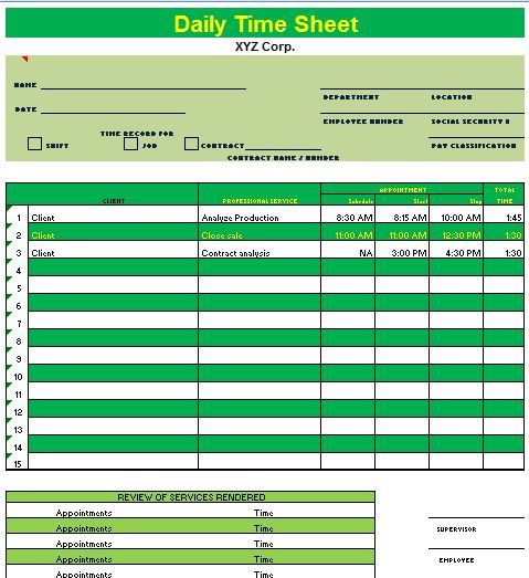 Microsoft Excel Timesheet Template