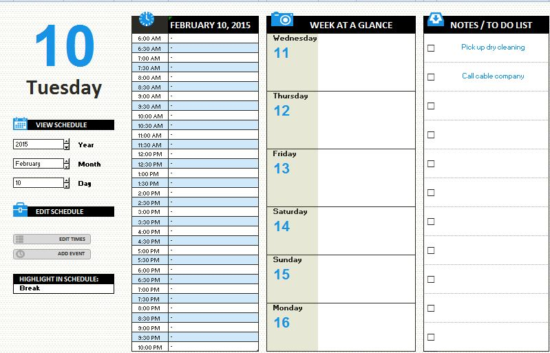 MS Excel Daily Work Schedule Template