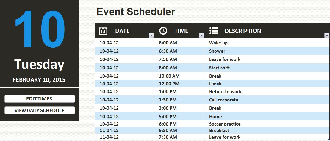 MS Excel Daily Work Schedule Template | Formal Word Templates