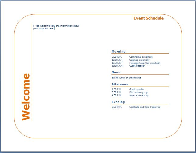 programme template for an event