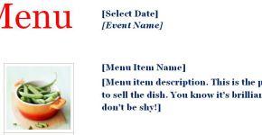 Sample Event Menu Planner Template