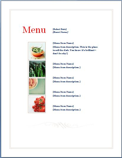Sample Event Menu Planner Template