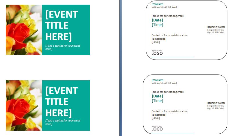 Sample Event Postcards Template