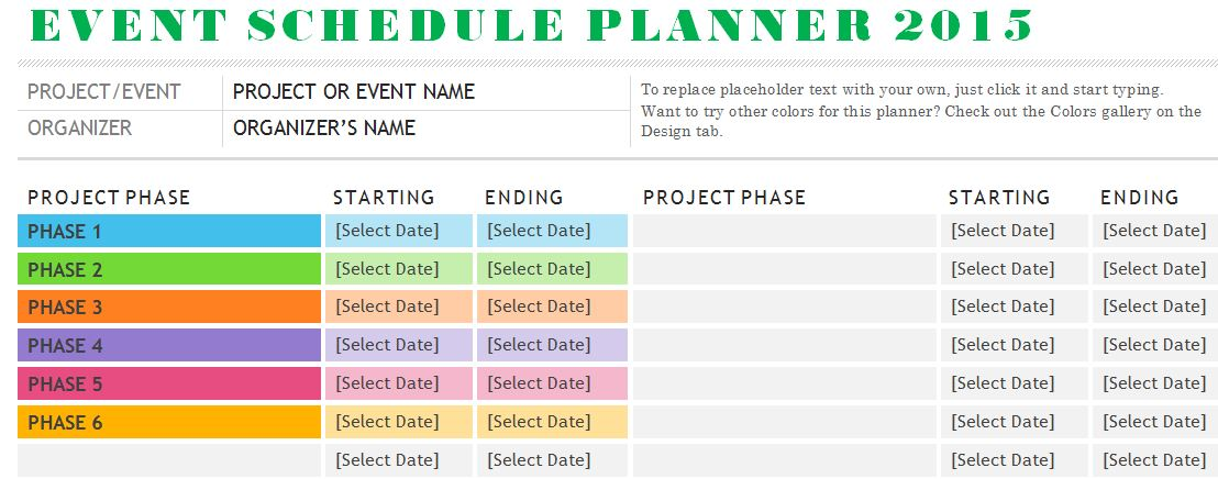 Sample Event Schedule Planner Template  Events Planning Template
