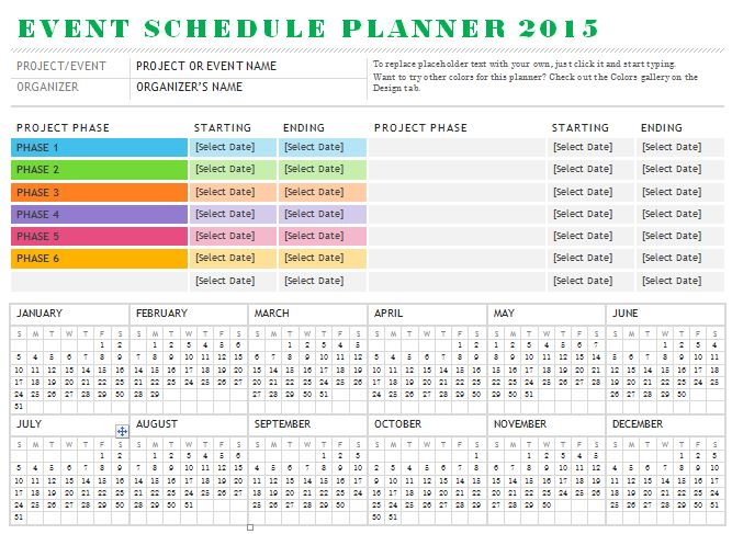 sample event schedule planner template