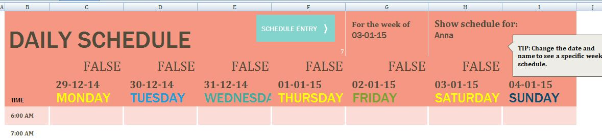 Family Member Daily Task Schedule Template