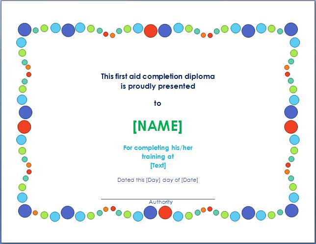 First aid training completion certificate template for First aid certificate template free