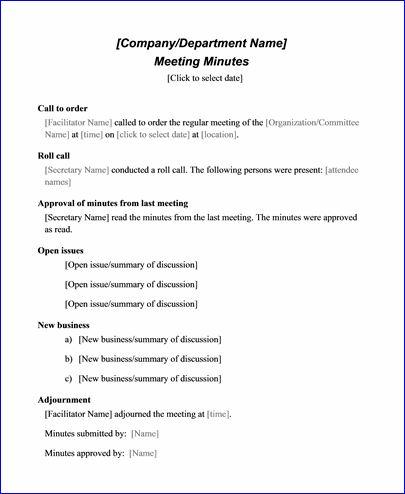 sample meeting minute templates