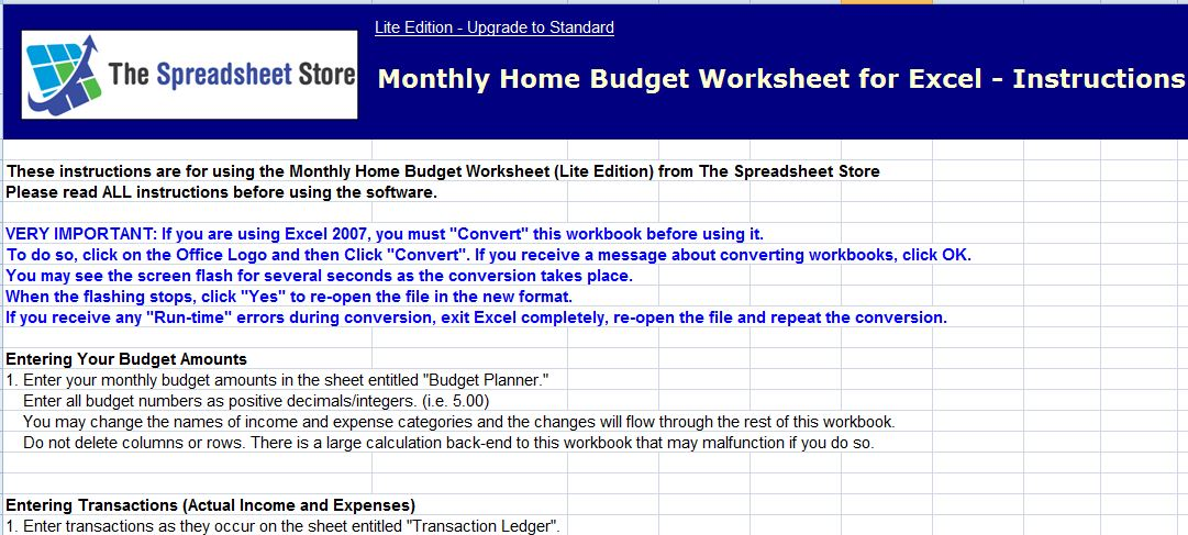 MS Excel Monthly Home Budget Worksheet