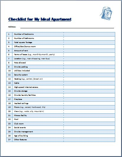 Ideal Apartment Selecting Checklist Template Formal Word