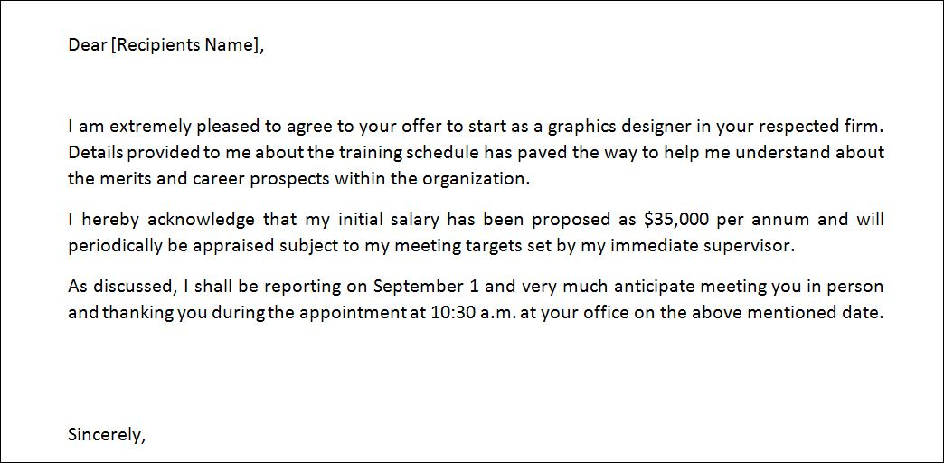 Sample Job Offer Letter Template | Formal Word Templates