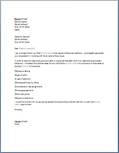 parent teacher letter templates