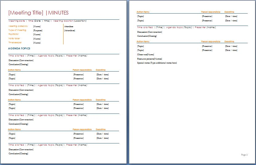 minutes of the meeting template sample