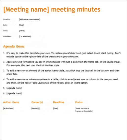 Sample meeting minute templates formal word templates for Standard minutes of meeting template