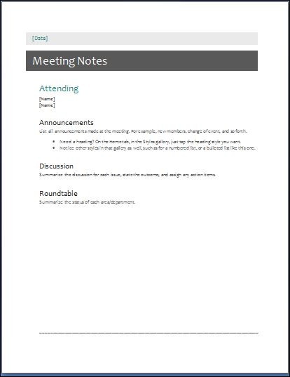 Sample Meeting Minute Templates