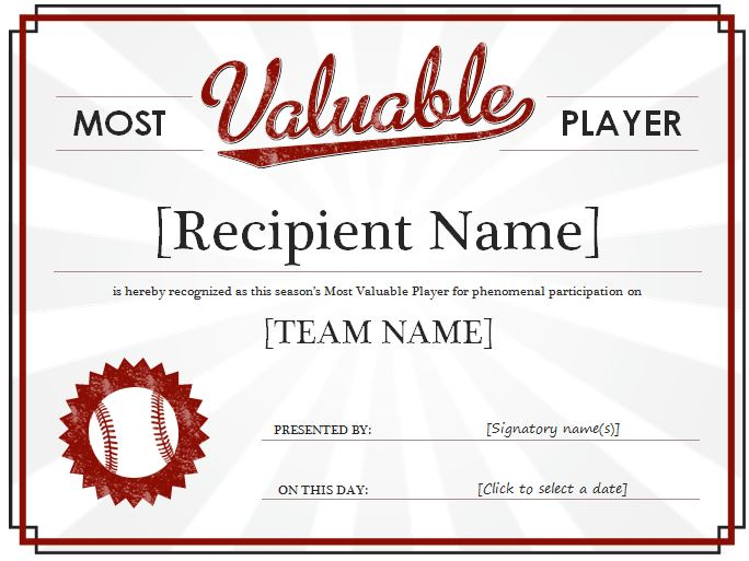 Most Valuable Player Award Certificate Template