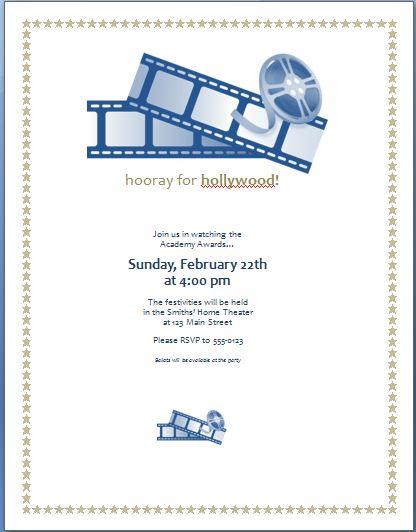 Movie Award Party Invitation Template