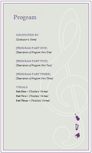 Music Event Program Invitation Template | Formal Word ...