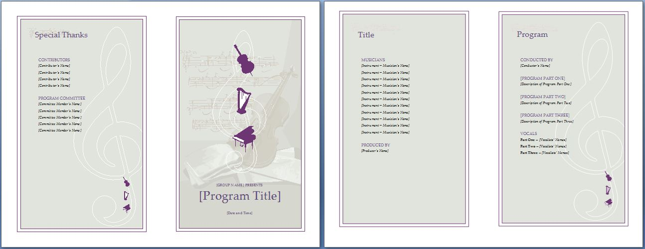 Music event program invitation template formal word templates for Event planning and design courses