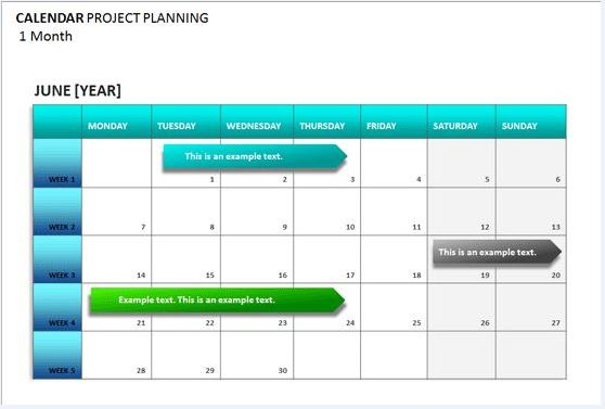 Sample Project Planning Calendar Template | Formal Word Templates