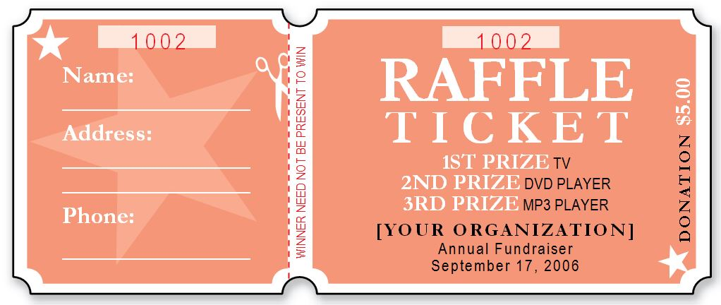 sample raffle ticket templates formal word templates. Black Bedroom Furniture Sets. Home Design Ideas