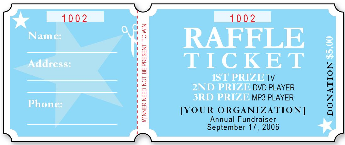Sample Raffle Ticket Templates – Raffle Ticket Template Free Microsoft Word