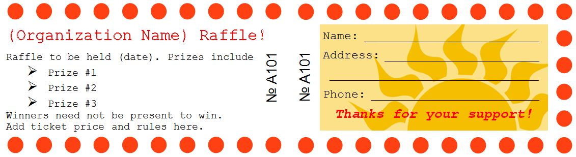 sample of raffle ticket design