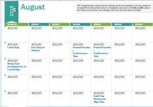 2015-2016 School Calendar Template