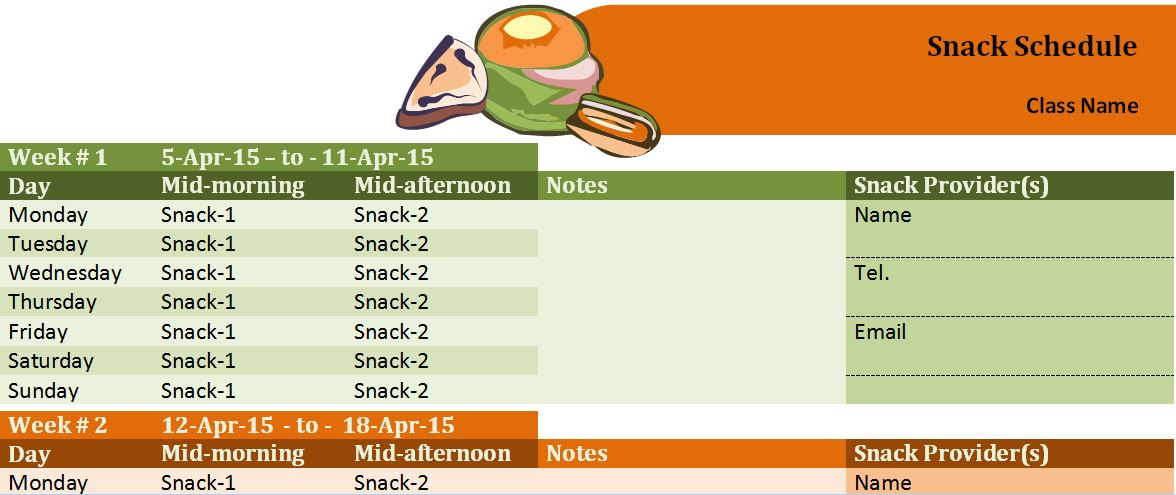 Class Snack Schedule Template