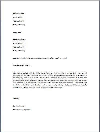 Sample Suggestion Letter Template | Formal Word Templates